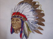 Indian Chief - Detailed Embroidery Design